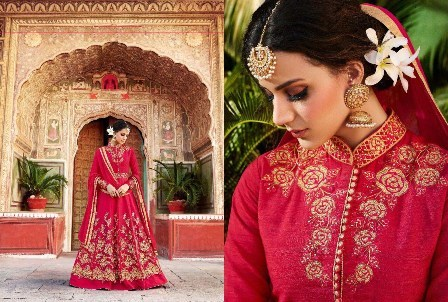 Redish Party Wear Designer Anarkali Suit