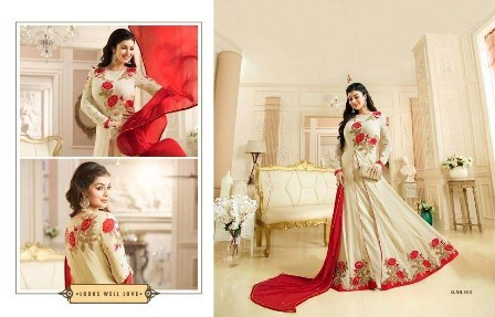 White And Red Designer Anarkali Suit