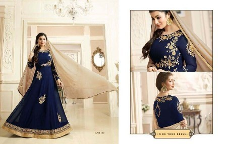 Bridal Wear Navy Blue Anarkali Suit