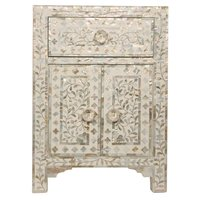 White MOTHER OF PEARL 2 Door & 1 drawer bedside