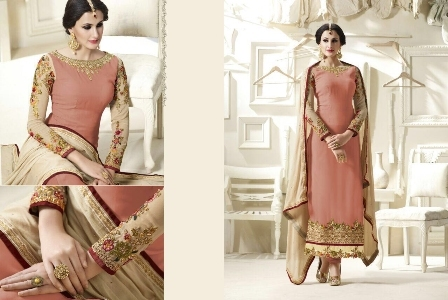 Peach Embroidered Churidar Anarkali Suit