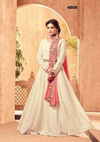 White Anarkali Suit