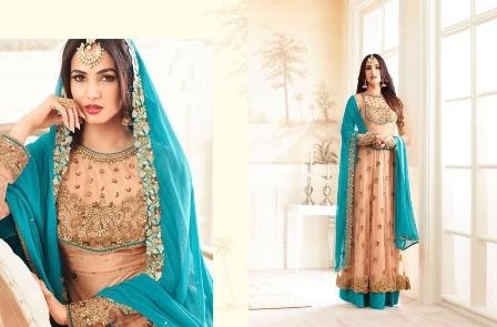 Blue+peach Anarkali Suit