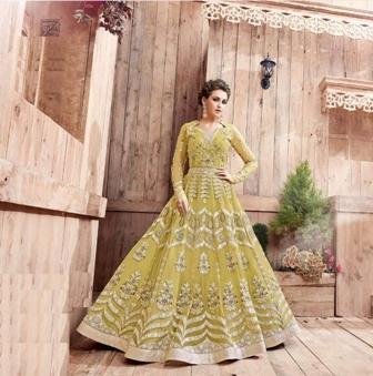 Bridal Wear Yellow Anarkali Suit
