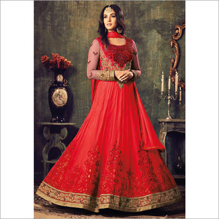 Ladies Red Designer Anarkali Suits