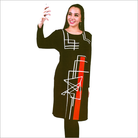 Ladies Round Neck Woolen Modern Kurtis