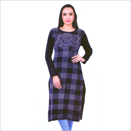 Ladies Round Neck Woolen Fancy Kurtis
