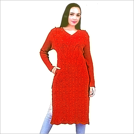 Ladies V Neck Woolen Kurtis