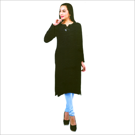 Ladies Black Color Woolen Kurtis