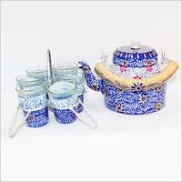 Free Hand Painted Aluminum Kettle and Glass Set