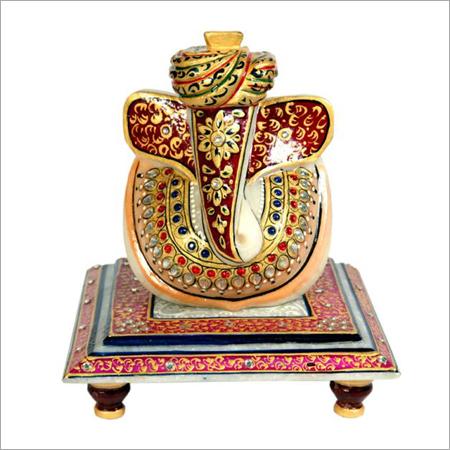 Lord Ganesha Marble Polished Chowki