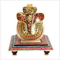 Lord Ganesha Marble Polished Chowki