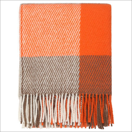 Orange Check Wool Throws