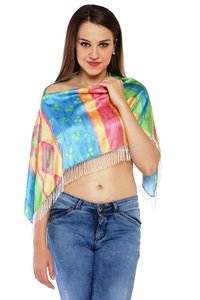 100% Satin Digital printed Ruhana Top / Cover up Top/ Poncho