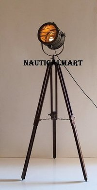 Antique Tripod Nautical Floor Lamp, Industrial Vintage Look Lamp for Living Room