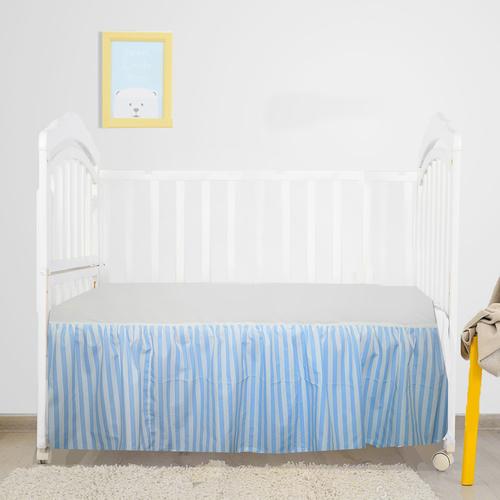 Striped Crib Skirt 100% Natural Cotton, Nursery Crib Bedding Skirt