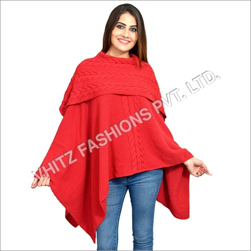 Women's Poncho (Red)