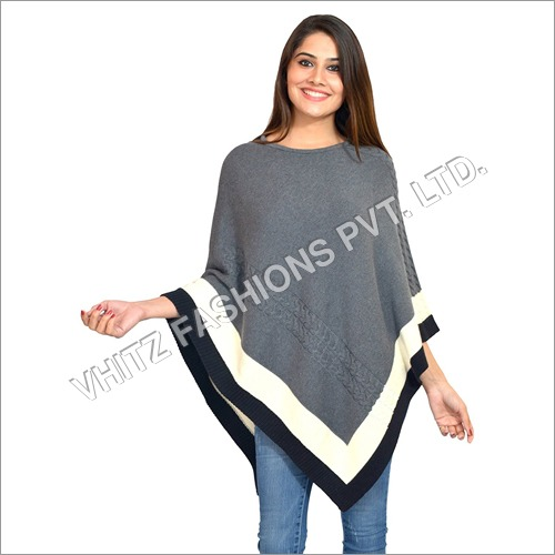 Casual Cotton Western Wear Long Sleeves Poncho Cape Top