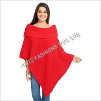 Casual Acrylic Western Wear Sleeveless Boat Neck Poncho Cape Top