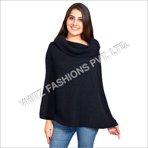 Long Sleeves Mid Thigh Length Poncho Cape Top