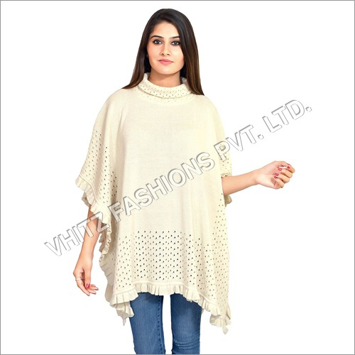 Women's Cotton Poncho (Off-White)