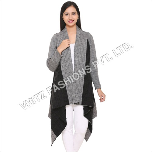 Women's Acrylic Shrug (Black and Grey)