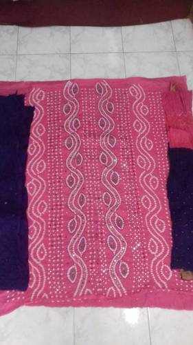 Bandhej Mirror Work Dress Material