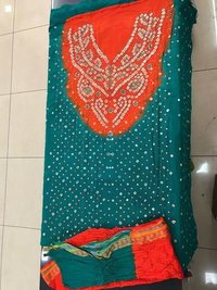 Green Bandhni Dress Material