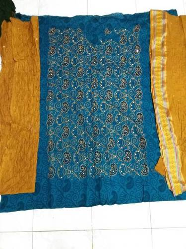 Bandhej With Print Dress Material