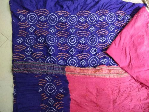 Blue and Pink Bandhej Dress Material