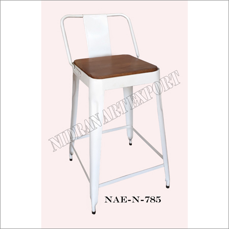 Industrial Iron Bar Chair With Wooden Seat