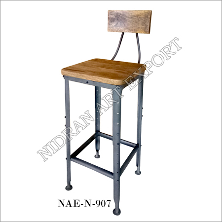 Indian Iron And Wooden Bar Chair