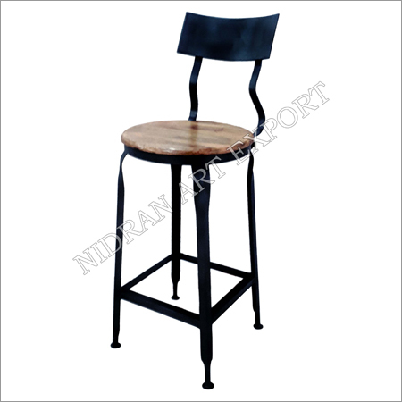 Iron And Wooden Bar Chair With Wooden Seat - Black