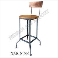 Iron And Wooden Bar Chair Industrial
