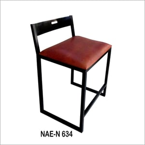 Iron And Leather Seat Bar Chair