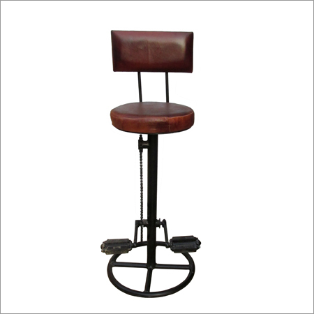 Iron And Leather Cycle Bar Chair