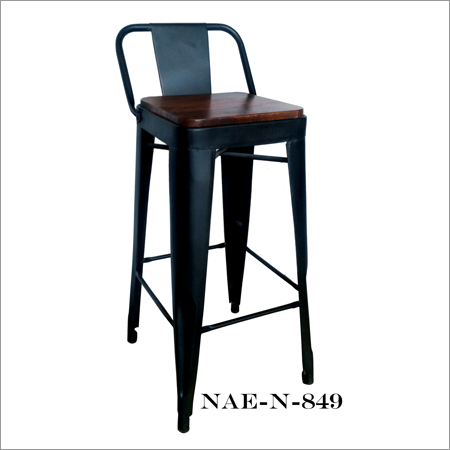 Iron Bar Chair And Wooden Seat