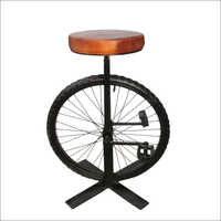 Iron And Leather Bar Stool With Wheel