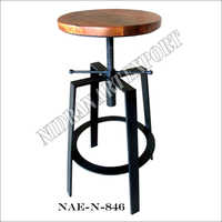 Industrial Iron And Wooden Height Adjustable Bar Stool