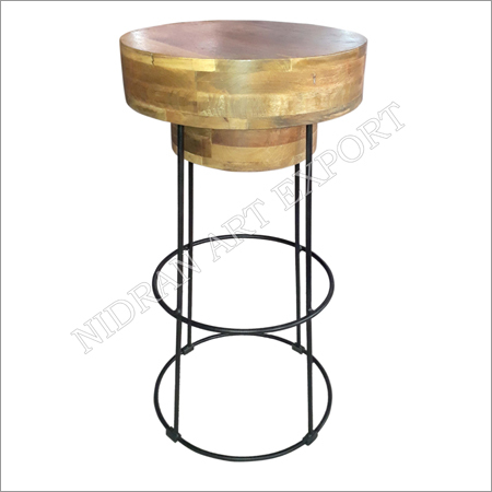 Industrial Iron And Wooden Bar Stool