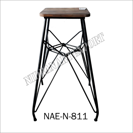 Industrial & Vintage Iron  And Wooden Butterfly Bar Stool