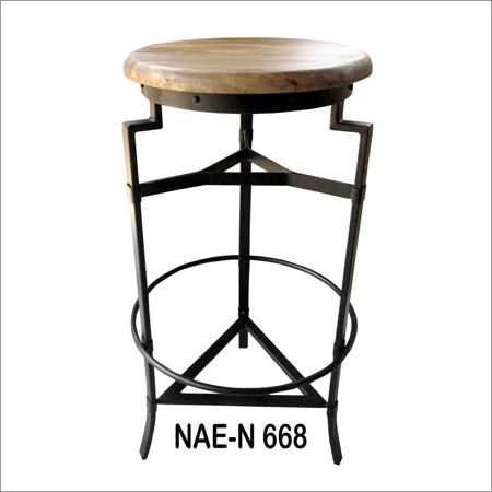 Wooden Round Top And Iron Industrial Bar Stool