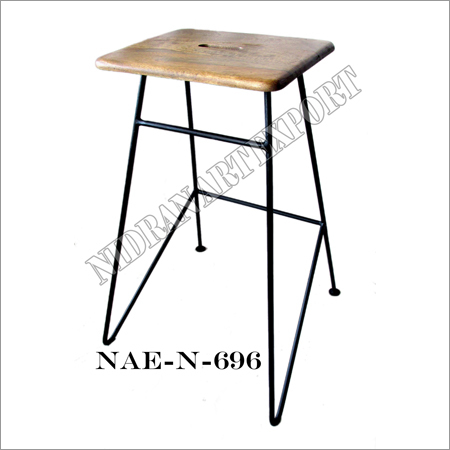 Wooden And Iron Industrial Bar Stool