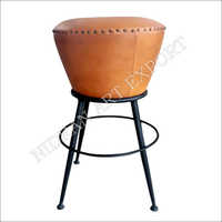 Nae-n-954 ( Industrial And Vintage Iron Metal And Leather Bar Stool)