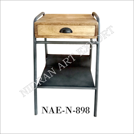 Iron And Wooden One Drawer Side Cabinet