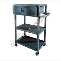 Iron One Drawer Side Table With Wheels