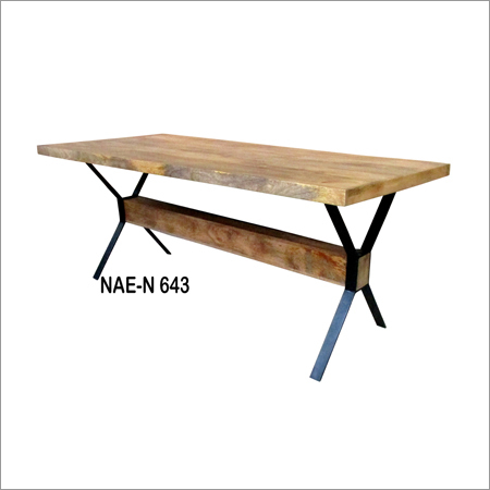 Iron & Wooden  Industrail X Dining Table