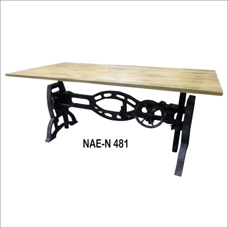 Iron & Wooden Crank Industrial Dining Table