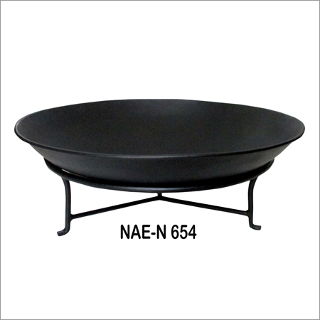 Iron Fire Bowl With Stand Black