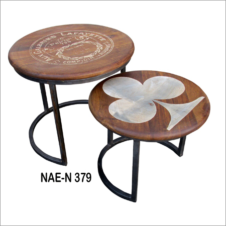 Iron And Wooden Table Set Of Two
